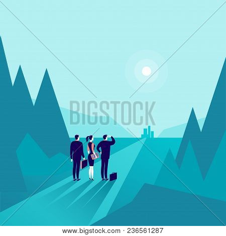 Vector Business Concept Illustration With Business People Standing At Forest Edge & Watching On Hori