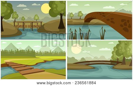 Wooden And Stone Bridges Across The River On The Background Of Trees