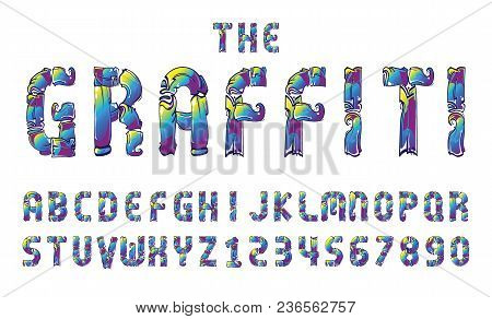 Graffiti Font Alphabet Letter. Hip Hop Type Numbers Vector Illustration.