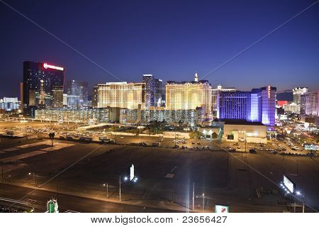 LAS VEGAS, NEVADA - SEPT 7: Ballys, Planet Hollywood and Caesars Palace Resorts on the strip.  Vegas has 147,611 hotel rooms with a average daily rate of $106 on Sept 7, 2011 in Las Vegas, Nevada.