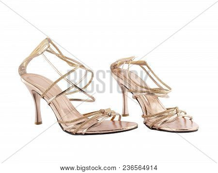 Close-up Pair Of Women High Heel Sandals Isolated On White Background, Fashionable Sexy Strap Shoe