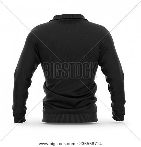 Men's zip neck pullover with raglan sleeves, rubber cuffs and collar. 3d rendering. Clipping paths included: whole object, collar, sleeve, zipper. Back view. poster