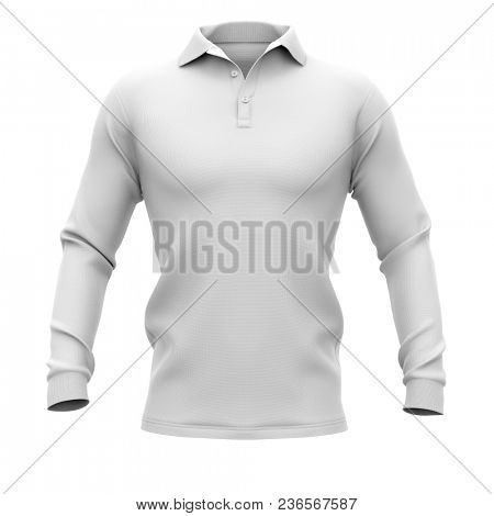 Men's polo shirt with long sleeves. Front view. 3d rendering. Clipping paths included: whole object, collar, sleeve, buttons. Isolated on white background.