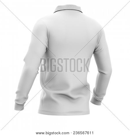 Men's polo shirt with long sleeves. Half-back view. 3d rendering. Clipping paths included: whole object, collar, sleeve. Isolated on white background.