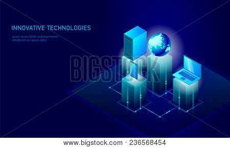 Isometric Global Networking Planet Earth Business Concept. Blue Glowing Isometric Personal Informati