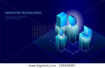 Isometric Internet Security Shield Business Concept. Blue Glowing Isometric Personal Information Dat