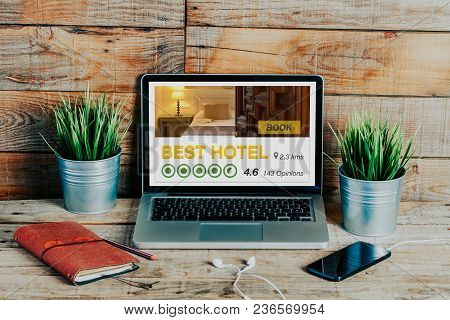 Best Hotel Booking Reservation Website In A Laptop Screen.