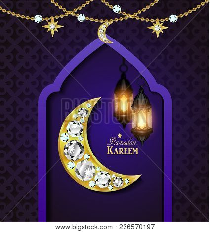 Islamic Design Mosque Door Greeting Background Ramadan Kareem With Golden Moon Vector