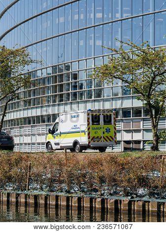 Strasbourg, France - Apr 17, 2018: Ambulance Van Near European Parliament Facade During Emmanuel Mac