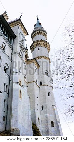 Hohenschwangau, Bavaria / Germany - March 2018: Neuschwanstein Castle, Or New Swanstone Castle, Hist