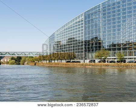 Strasbourg, France - Apr 17, 2018: Cconvoy Of The Emmanuel Macron, President Of France During The Vi