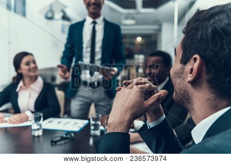 Multinational Company Of Businessmen Holds Meeting In Conference Hall. Business Meeting. Encounter I