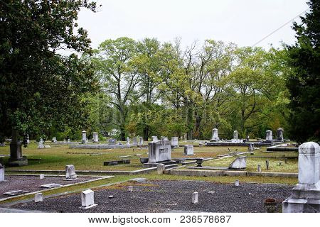 Small Town Cemetery With Old Grave Sites.