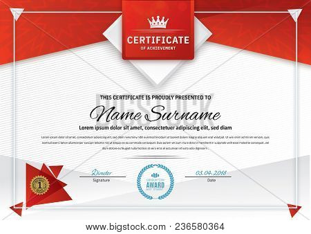 Official White Certificate With Red Triangle Design Elements, Crown. Business Clean Modern Design. T