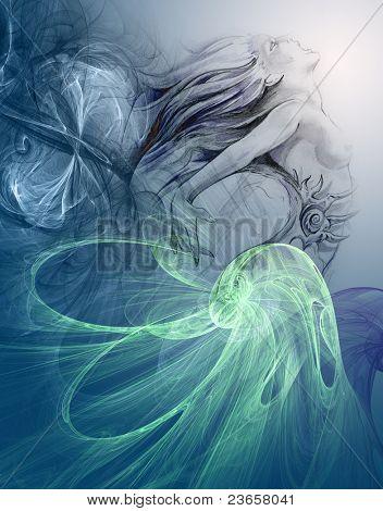 Painting of a mermaid.