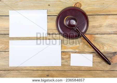 Law Concept. Corporate Stationery Set Mockup, Gavel. Blank White Textured Brand Id Elements