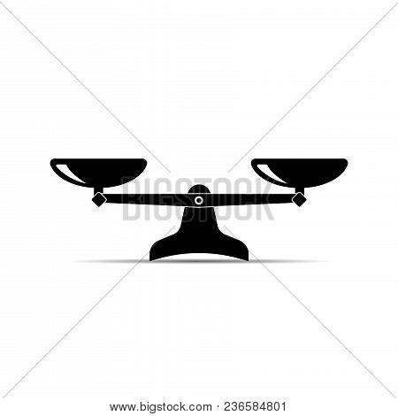 Scales Icon. Vector Black Scale Single Symbol.