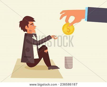 Homeless. Hand With The Coin. Vector. Cartoon Isolated Art