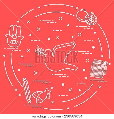 Jewish Symbols: Dove, Olive Branch, Pomegranate, Matzah, Fish, Hamsa, Mezuzah. Design For Postcard,