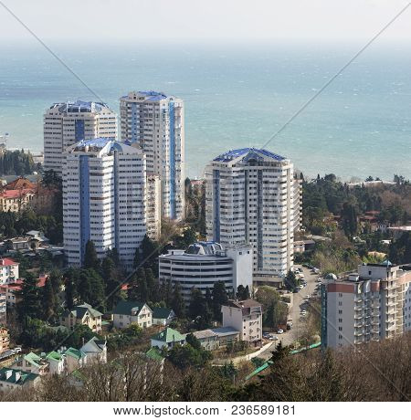 High-rise Buildings On The Street Yana Fabritsiusa In Hostinsky Area Of The Resort Town On A Sunny S