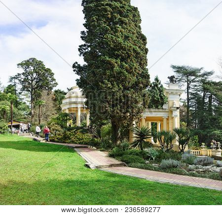 Rotunda On The Central Avenue In Arboretum Of The Resort City In Sunny Spring Day