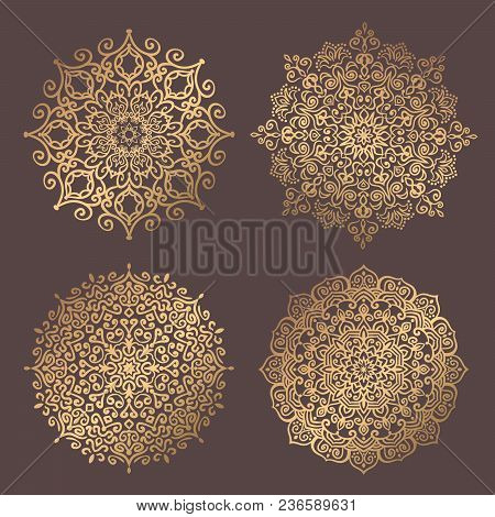 Mandala Vector Design Element. Golden Round Ornaments. Decorative Flower Pattern. Stylized Floral Ch