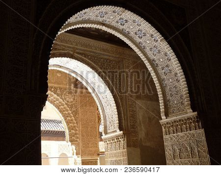 Palace Archway Located In Granada, Spain.  Shows A Blend Of Islamic And Christian Influences.