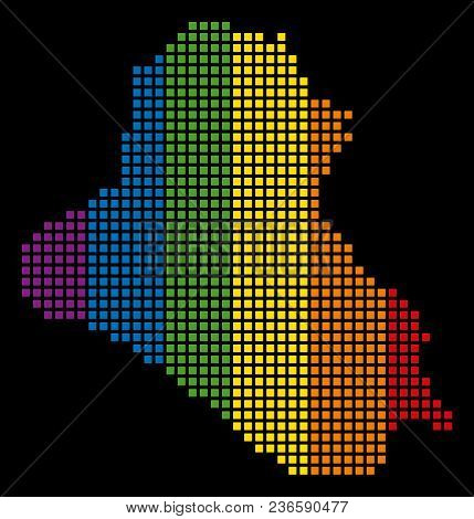 Spectrum Vector Abstract Collage Of Iraq Map Created Of Rounded Square Pixels. Vector Homosexual Tol
