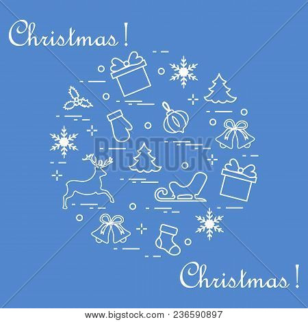 New Year And Christmas Symbols Arranged In A Circle. Winter Elements. Design For Postcard, Banner An