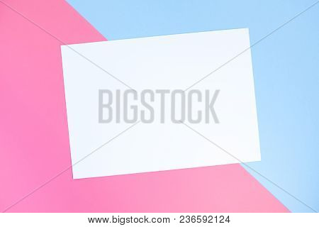 Blue And Pink Pastel Color Paper Geometric Flat Lay Background Mock Up