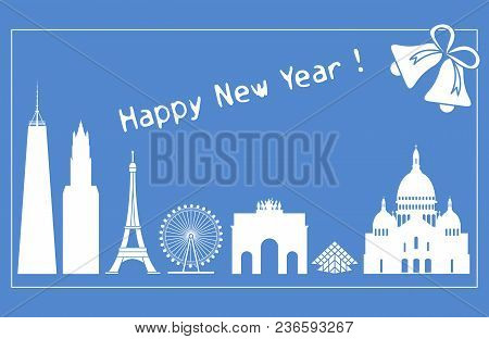 Famous Buildings And Constructions Of Different Countries. New Year And Christmas Greeting Card.