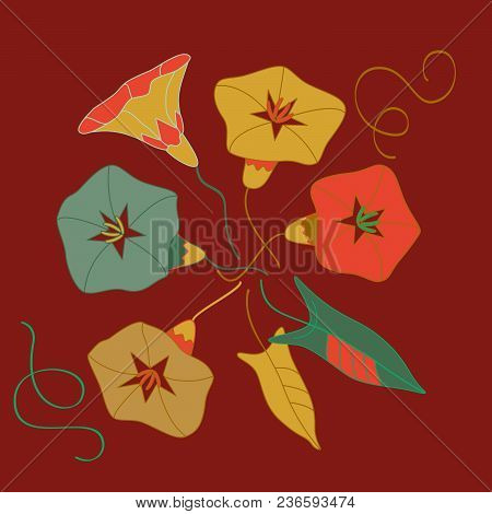 Stylized Wild Flowers Of Bindweeds With Leaves On Red-bricks Background