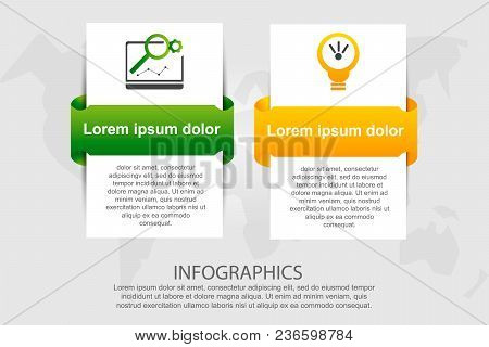 Modern Vector Illustration 3d. Template For Infographic Rectangles With Labels Two Elements. Contain