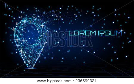 World Pin. Business Concept, Vector Polygonal Image In The Form Of A Starry Sky Or Space, Consisting