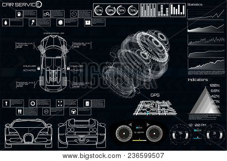 Car Service In The Style Of Hud, Cars Infographic Ui, Analysis And Diagnostics In The Hud Style, Fut