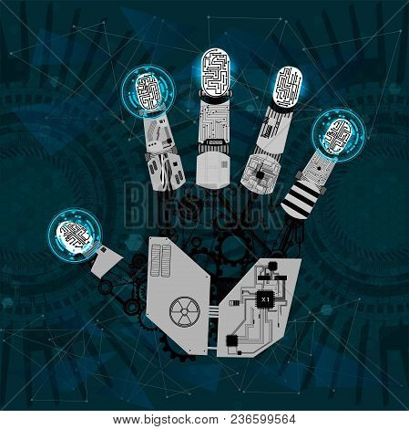 Mechanical Arm, Robot Hand, Hand Graphics In Technological Guise, Arm Mechanism