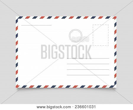 Postcard Template With Shadow. Vector Illustration. Eps 10