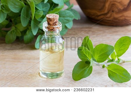 A Bottle Of Marjoram Essential Oil With Fresh Marjoram Twigs In The Background