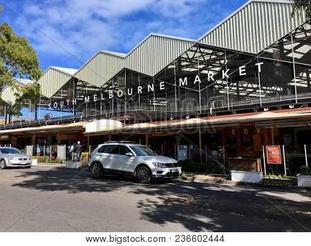 Melbourne, Australia: April 06, 2018: Street View Of South Melbourne Market Which Opened In 1867. Th