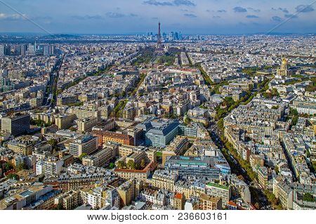 Panorama And Aerial View Of Paris, From Montparnasse Tower, With Eiffel Tower, Dome Des Invalides An
