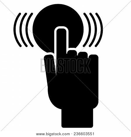 The Finger Presses The Button. Vector Illustration