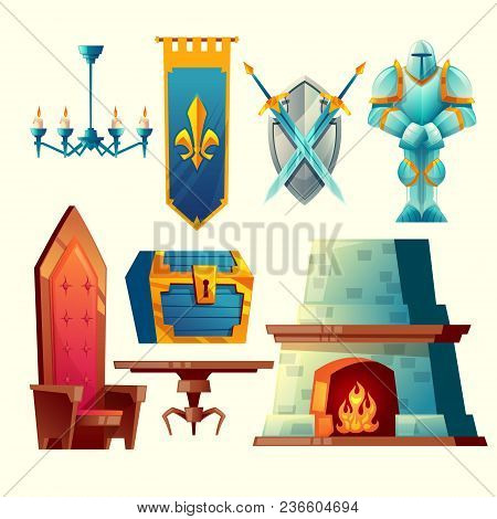 Vector Set Of Fantasy Items, Fairy Tale Game Design Objects For Interior Isolated On White Backgroun