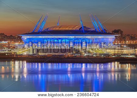 St. Petersburg, Russia - April 13, 2018:  Zenit Arena Stadium Built To Host The Matches Fifa World C