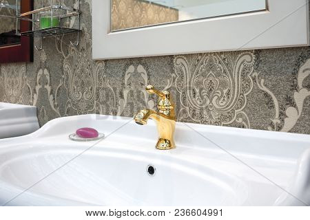 Bathroom Luxury Classic Interior With White Sink And Classic Retro Style Golden Faucet