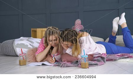 Friendship Bff. Leisure Pastime. Friends Communication Writing In Notebook. Young Teenage Mates At H