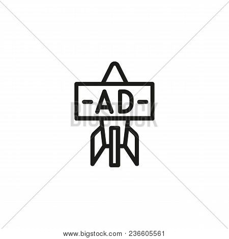 Line Icon Of Racket With Ad. Starting Advertisement Campaign. Startup Concept. For Topics Like Busin