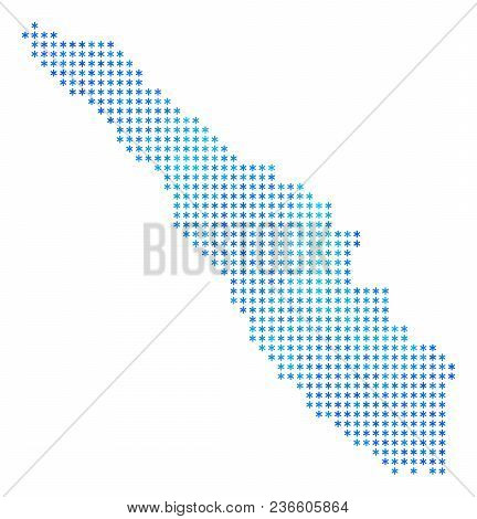 Frozen Sumatra Island Map. Vector Geographic Map In Blue Frosty Colors. Vector Collage Of Sumatra Is