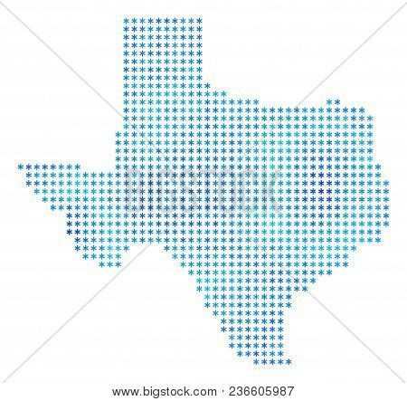 Icy Texas Map. Vector Geographic Map In Blue Frost Colors. Vector Mosaic Of Texas Map Made Of Snow D