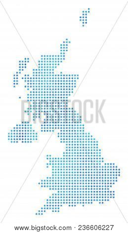Icy United Kingdom Map. Vector Geographic Map In Blue Frosty Colors. Vector Composition Of United Ki
