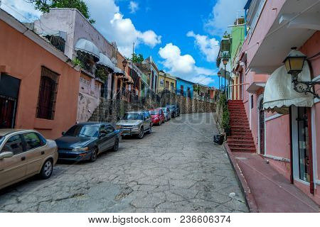 Santo Domingo, Dominican Republic- October 30, 2015: Street In Historic Quarters Of Zona Colonial In